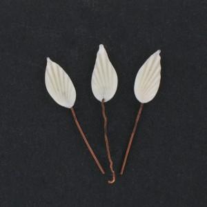 Striped leaf on copper stem, ivory 17x7 mm