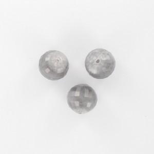 Perle ronde à facettes, gris 12 mm