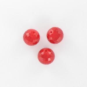 Perle ronde à facettes, rouge 12 mm
