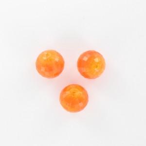 Perle ronde à facettes, orange 12 mm