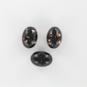 Olive bead with coppery spots, black 15x11 mm