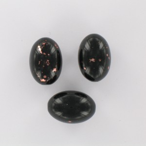 Olive bead with coppery spots, black 20x14 mm