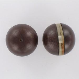 Perle plastique aspect cuir équateur transparent, marron cristal 25 mm