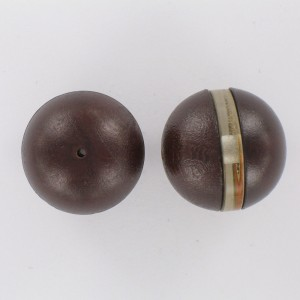 Plastic bead leather look with transparent equator, brown crystal 25 mm