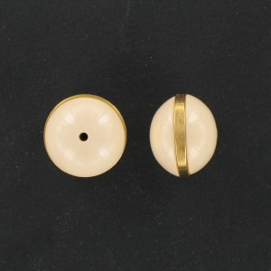 Washer with metal circle, beige 18 mm