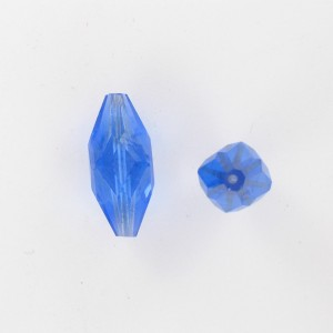 Faceted olive bead, sapphire 26x11 mm