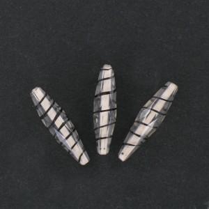 Perle olive facettée rayée noir, cristal 27x7 mm