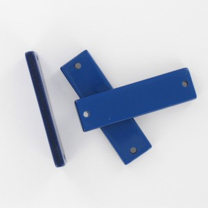 Rectangular plaque with 2 holes, dark blue 35x10 mm
