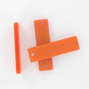 Rectangular plaque with 2 holes, orange 35x10 mm