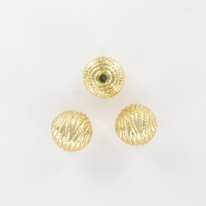 Striped bead, gilded 12 mm