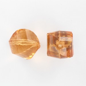 Twisted faceted bead, whiskey 22 mm