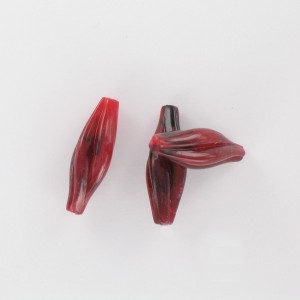 Twisted olive, claret coloured 24x8 mm