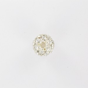 Ball bead with strass, silvered crystal 15 mm