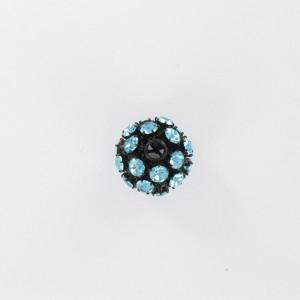 Ball bead with strass, aquamarine black 15 mm