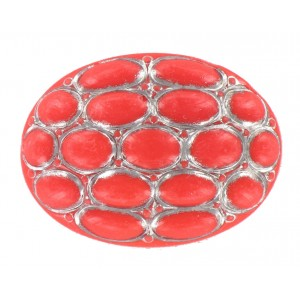 Oval coral red cabochon 40x30 mm