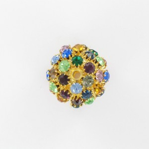 Ball bead with strass, gilded multicoloured 25 mm