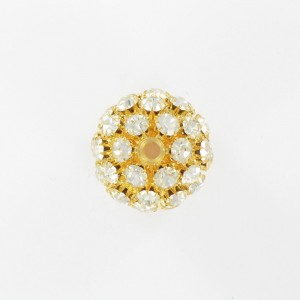 Ball bead with strass, gilded crystal 25 mm