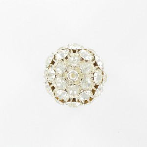 Ball bead with strass, silvered crystal 25 mm