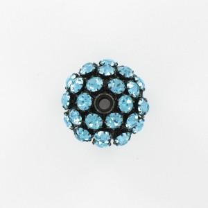 Ball bead with strass, aquamarine black 25 mm
