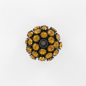 Ball bead with strass, topaz black 25 mm