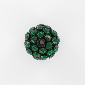 Ball bead with strass, emerald black 25 mm