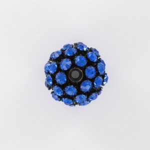 Ball bead with strass, sapphire black 25 mm