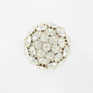 Ball bead with strass, silvered crystal 30 mm