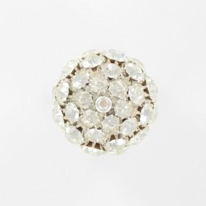 Perle boule avec strass, cristal argenté 30 mm
