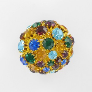 Boule ajourée avec strass, doré multicolore 35 mm