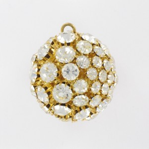 Ball with strass and one ring, gilded crystal 35 mm