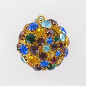 Ball with strass and one ring, gilded multicoloured 35 mm