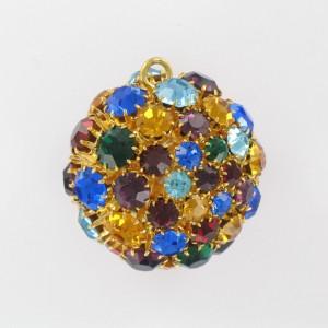Boule avec strass et un anneau, doré multicolore 35 mm