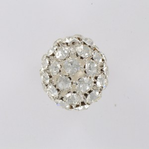 Ball with strass and one ring, silvered crystal 28 mm