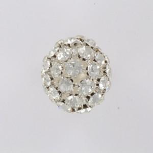 Boule avec strass et un anneau, cristal argenté 28 mm