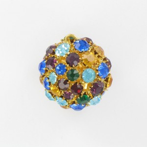 Ball with strass and one ring, gilded multicoloured 28 mm