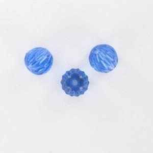 Perle striée avec facettes taillées, saphir 11 mm