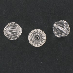 Striped bicone with cut facets, crystal 15x15 mm