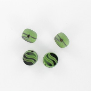 Flattened bead wave pattern and off-center hole, green black 10 mm