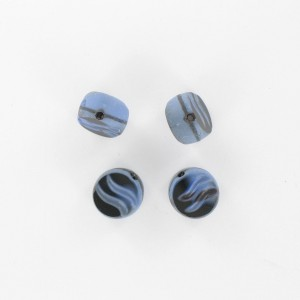 Flattened bead wave pattern and off-center hole, blue black 10 mm