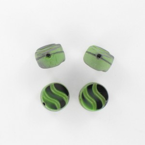 Flattened bead wave pattern and off-center hole, green black 12 mm