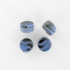 Flattened bead wave pattern and off-center hole, blue black 12 mm