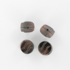 Flattened bead wave pattern and off-center hole, brown black 12 mm