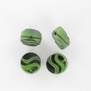 Flattened bead wave pattern and off-center hole, green black 14 mm