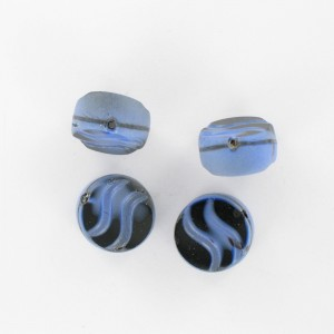 Flattened bead wave pattern and off-center hole, blue black 14 mm