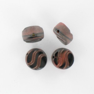 Flattened bead wave pattern and off-center hole, brown black 14 mm