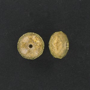 Faceted washer on gilt base, jonquil 18x12 mm