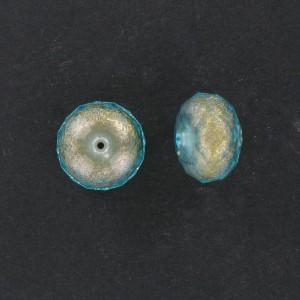 Faceted washer on gilt base, aquamarine 18x12 mm