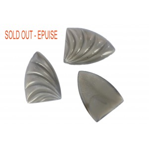 Shell shaped cabochon, grey, 26x18 mm