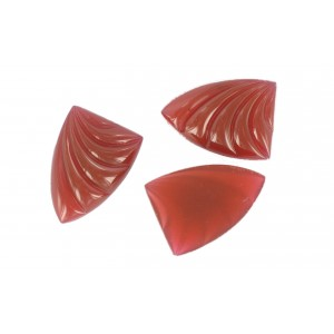 Shell shaped cabochon, cornelian, 26x18 mm
