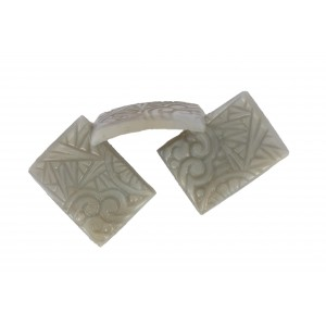 Rectangle curved stone, grey, 25x18 mm